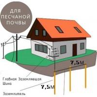 Комплект заземления в частном доме (3 точки, 15 Стержней) Для песков