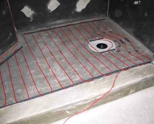 теплый пол в душе со сливом в полу